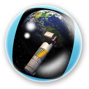 PZ3 orbiting the Earth graphic in a bubble